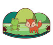 cute frog and fox on landscape  over white background, colorful design. vector illustration