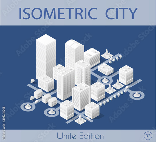 mata magnetyczna The isometric city with skyscraper