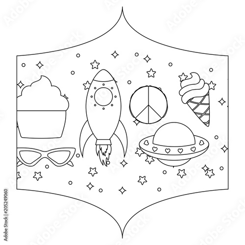 Decorative Frame With Rockets And Spaceships Pattern Over White