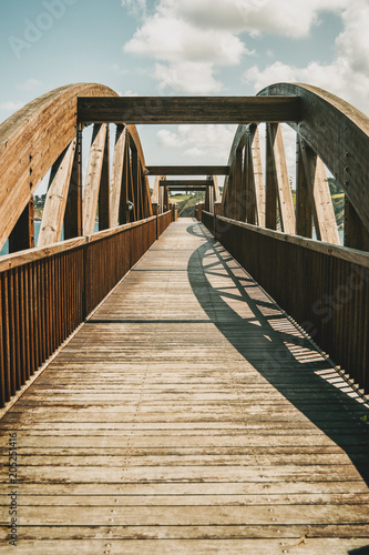 perspective of a wooden bridge in ribadeo, spain