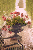 Vase with typical Dutch tulips in vintage style - 205258843