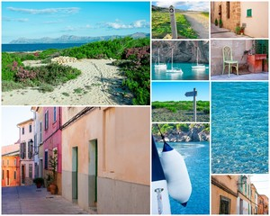 Postcard - Collage -  photos from vacation and travel - Postkarte - Altstadt und Meer