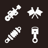 Motor icon set - filled collection of 4 vector icons - 205264605
