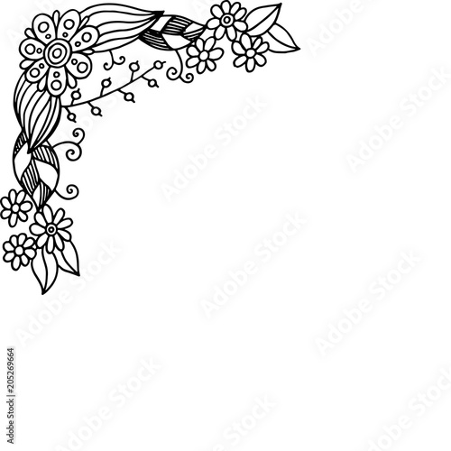 Doodle frame with summer flowers. Coloring page for adults. Vector illustration