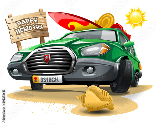 Fotobehang Auto Green cartoon car with a Surf equipment on roof and near signboard with inscription Happy Holidays