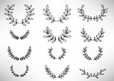 Black thin line wreath of hand drawn branches and leaves isolated on white background. Floral round frame. Laurel. Vector illustration. - 205276635