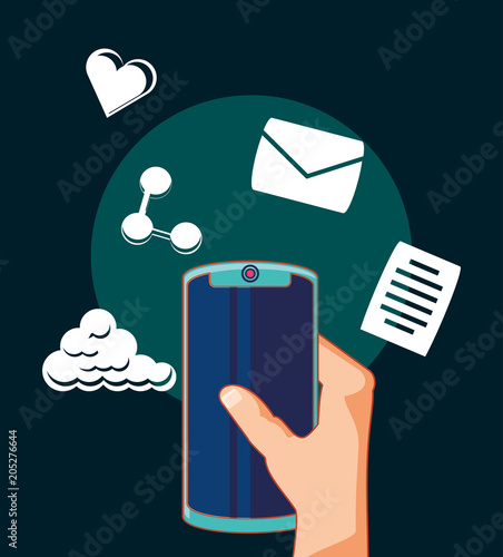 hand holding a smartphone with social media related icons around over black background, colorful design. vector illustration