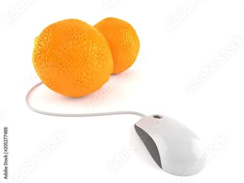 Pomarańczowy z myszką komputerową