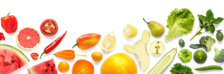 Creative flat layout of various fruits and vegetables isolated on white background, top view. Composition of food, concept of healthy eating. Food texture, banner format.