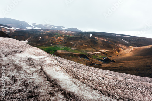 Fotobehang Wit Typical Iceland landscape with mountains and snow in summer time