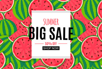 Abstract Summer Sale Background with Frame. Vector Illustration