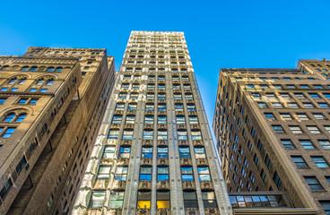 New York City, New York, Jan 2018, Manhattan buildings shot from just below