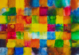A watercolor grid of squares, painted wet-in-wet. - 205288227