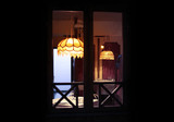 lamp shade in blur evening home room