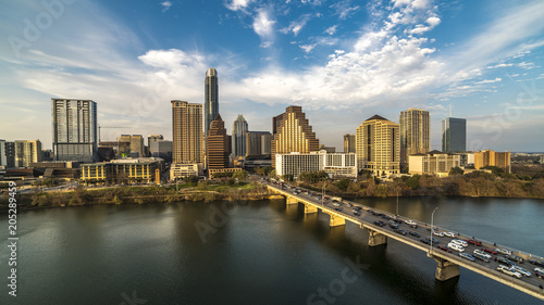 Poster MARCH 2, 2018, AUSTIN, TEXAS - Austin Cityscape Evening Skyline with skyscrapers down Congress Avenue Bridge over Colorado River