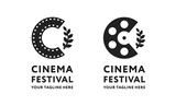 Cinema Short Film Roll Movie Festival Branch Logo Template Sign. Letter C Tape Reel Minimal Flat Icon Concept. - 205291001
