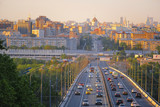 Moscow, Russia - May, 13, 2018: view of Moscow from the metro bridge in Luzhniki