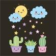 kawaii potted plants and cloud sun dark background cartoon vector illustration