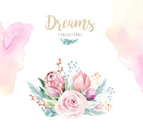 Hand drawing isolated watercolor floral illustration with protea rose, leaves, branches and flowers. Bohemian gold crystal frames. Elements for greeting wedding card. - 205298007