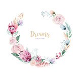 Hand drawing isolated watercolor floral illustration with protea rose, leaves, branches and flowers. Bohemian gold crystal frames. Elements for greeting wedding card. - 205298070