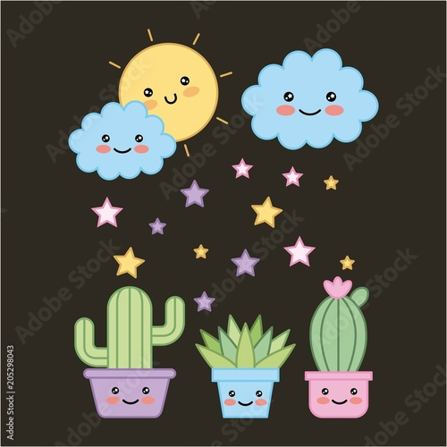 kawaii potted plants and cloud sun dark background cartoon vector illustration - 205298043