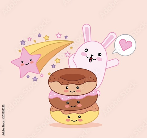 kawaii sweet cat and donut star happy cartoon vector illustration - 205298283