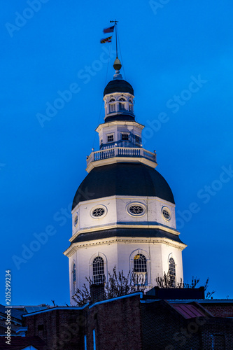 APRIL 9, 2018 - ANNAPOLIS MARYLAND - Maryland State Capitol is seen at dusk above Main Street Annapolis, Maryland