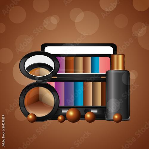 kosmetyki makijaż luźne cień do powiek palety żel butelka ilustracji wektorowych