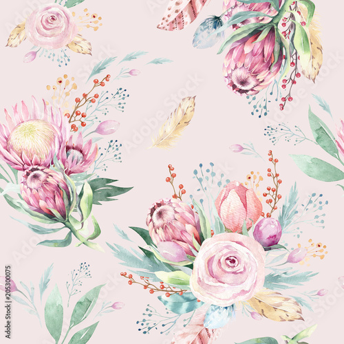 Hand drawing watercolor floral pattern with protea rose, leaves, branches and flowers. Bohemian seamless gold pink patterns prorea. Background for greeting wedding card. - 205300075