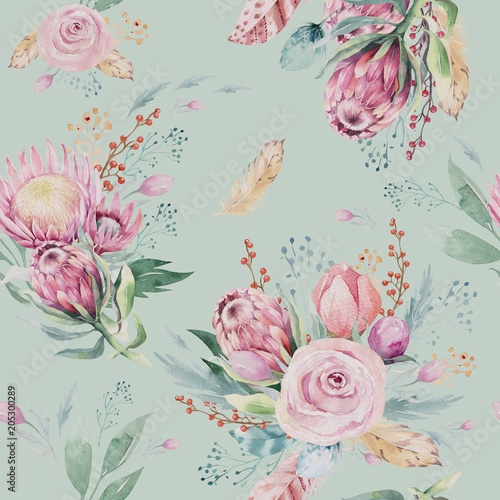 Hand drawing watercolor floral pattern with protea rose, leaves, branches and flowers. Bohemian seamless gold pink patterns prorea. Background for greeting wedding card. - 205300289