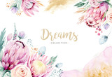 Hand drawing isolated watercolor floral illustration with protea rose, leaves, branches and flowers. Bohemian gold crystal frames. Elements for greeting wedding card. - 205301046