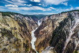 LOWER FALLS OF YELLOWSTONE RIVER FLOWING THROUGH THE Grand Canyon OF YELLOWSTONE NATIONAL PARK HORIZONTAL
