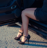 Elegant Legs in a Car Door