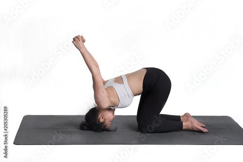 Aluminium School de yoga Woman practicing yoga on a white background.
