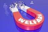 Welfare Magnet Recipients People Government Benefits Word 3d Render Illustration - 205314071