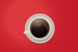 Top view of a coffee mug. Vector cup of coffee on a vivid red desktop background.