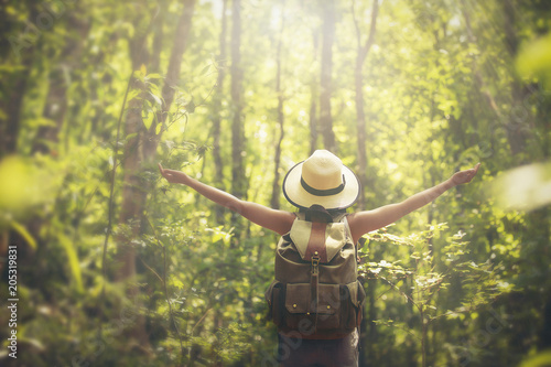 woman traveler with backpack holding hat and walking in the maple forest.