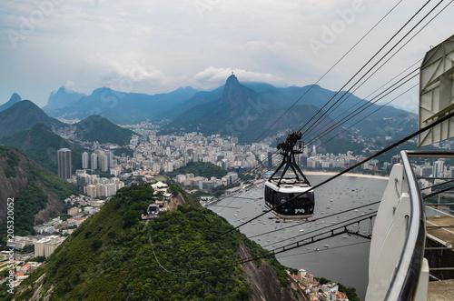 Canvas Rio de Janeiro The Sugarloaf mountain cable car, Rio de Janeiro, Brazil