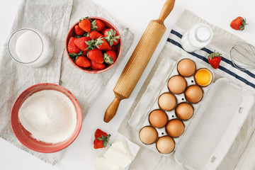 Raw ingredients cooking strawberry pie cake top view flat lay Recipe strawberry pie