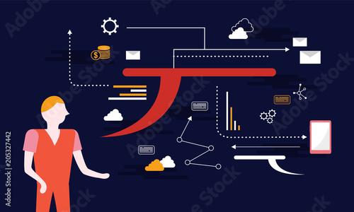 Flat marketing design interior program © kongvector