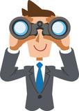 双眼鏡を覗くビジネスマン  - 205328470