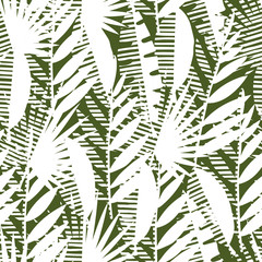Seamless pattern of tropical leaves, vector illustration leafs of areca palm, fan palm, babana, philodendron, monstera, fern