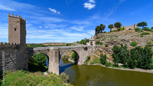 Poster Alcantara Bridge, view from the defensive walls of Toledo