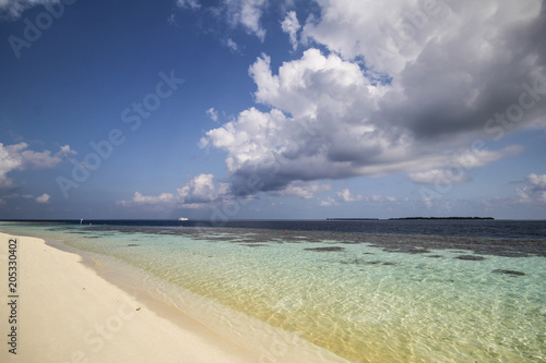 View of vilamendhoo island at the water bungalows side in the Indian Ocean, Maldives