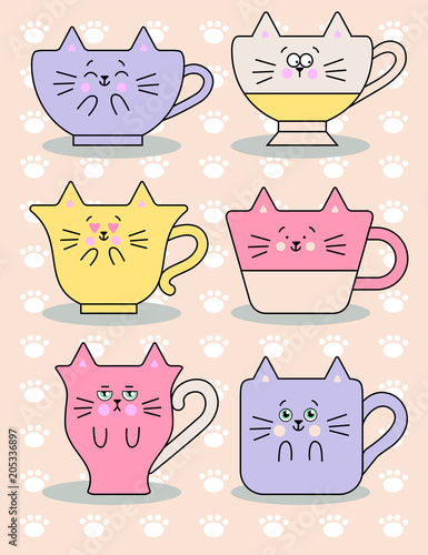 Funny cats cup vecctor image