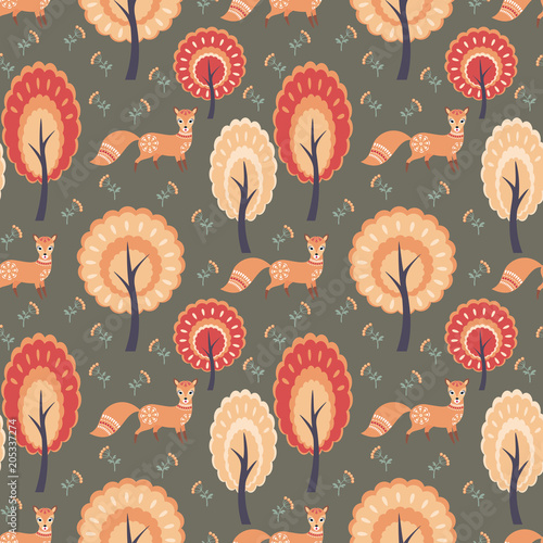 Fototapeta Decorative seamless pattern in folk style with fox. Colorful vector background.