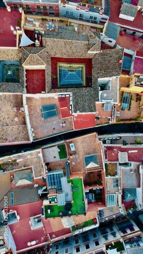 Colored roofs in Sevilla from the sky