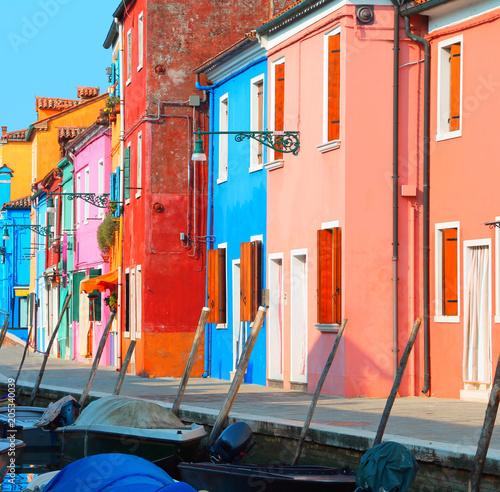 houses of the island of Burano near Venice in Italy