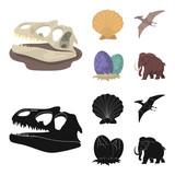Prehistoric shell, dinosaur eggs,pterodactyl, mammoth. Dinosaur and prehistoric period set collection icons in cartoon,black style vector symbol stock illustration web.