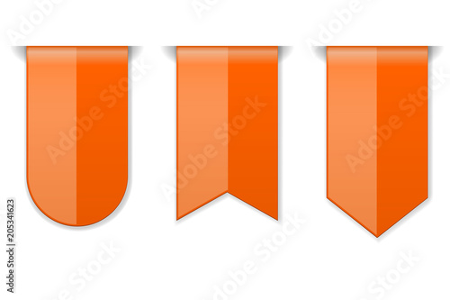 Orange DOWN arrow tags. 3d shiny icons